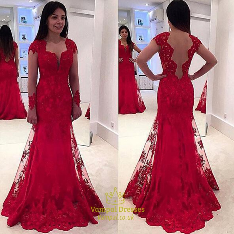 Red Long Sleeve Sheer Embellished Lace Overlay Mermaid Evening Gown ...
