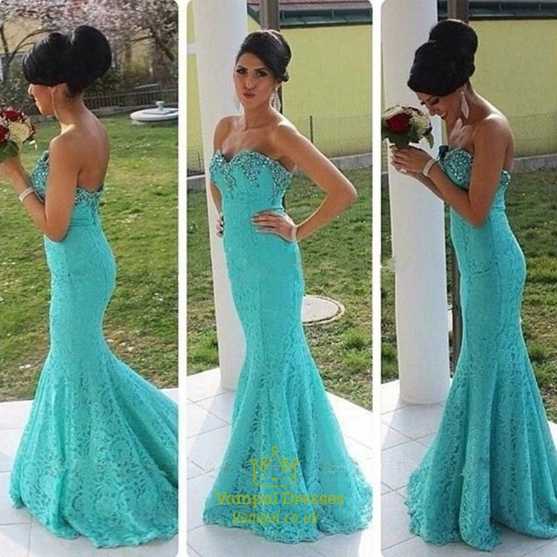 0706b70480 Turquoise Strapless Sweetheart Beaded Neck Lace Mermaid Prom Dress SKU  -FS778
