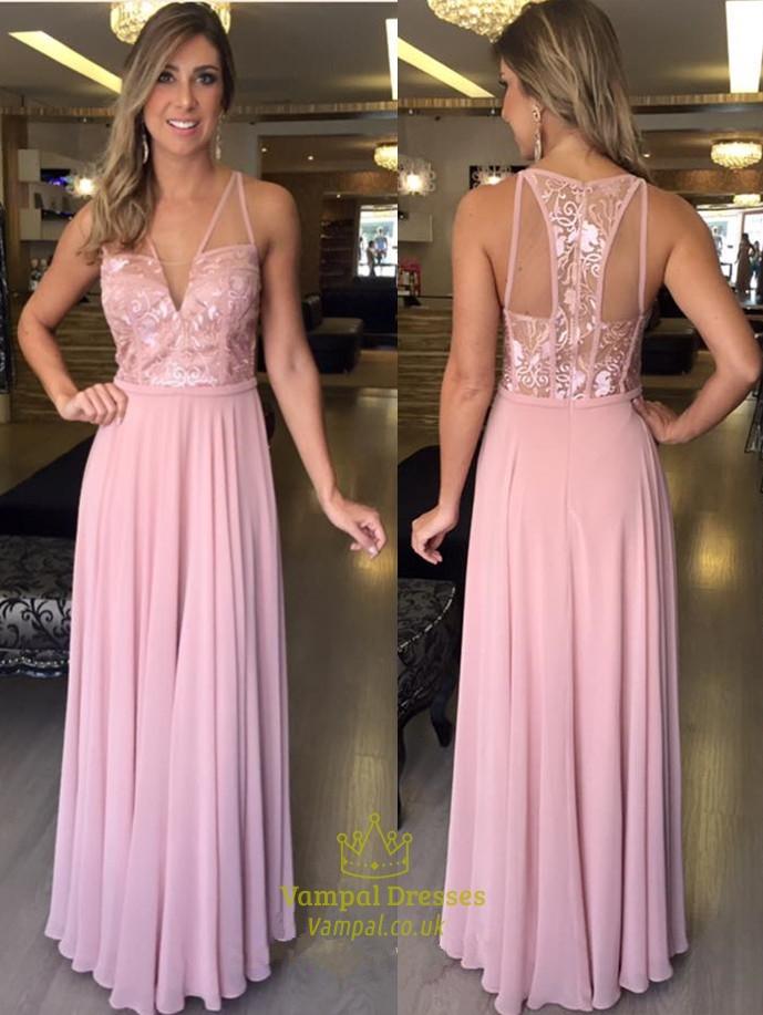 V Neck Backless Embellished Lace Bodice Chiffon Skirt Prom Dress SKU -FS795 c2772a04f