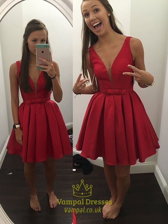 8c34a1d743bb Red Deep V Neck Sleeveless Skater Homecoming Dress With Bow SKU -FS807