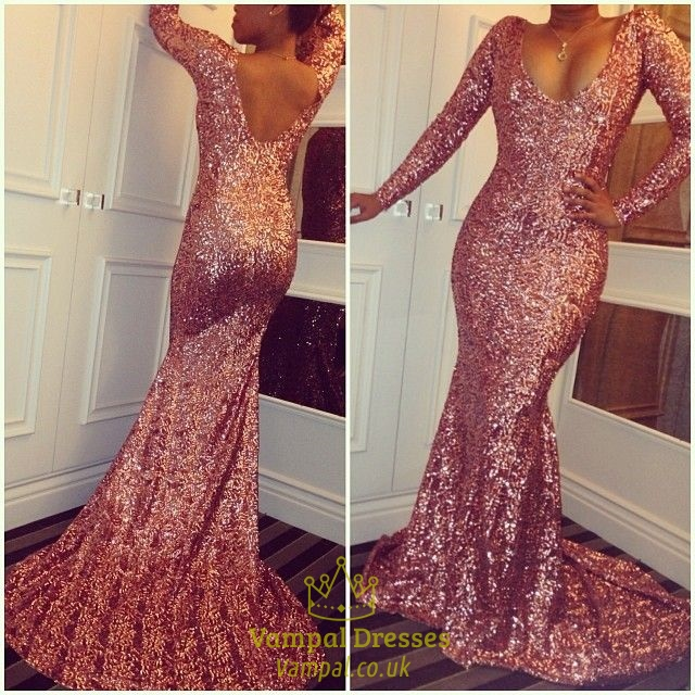 Pink Open Back V Neck Long Sleeve Sequin Floor Length