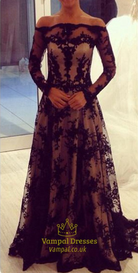 Black Off The Shoulder Long Sleeve Illusion Lace Overlay