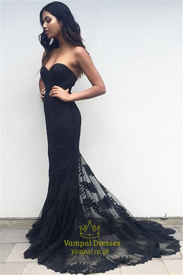 Black Strapless Sweetheart Lace Overlay Mermaid Long Formal Dress ...