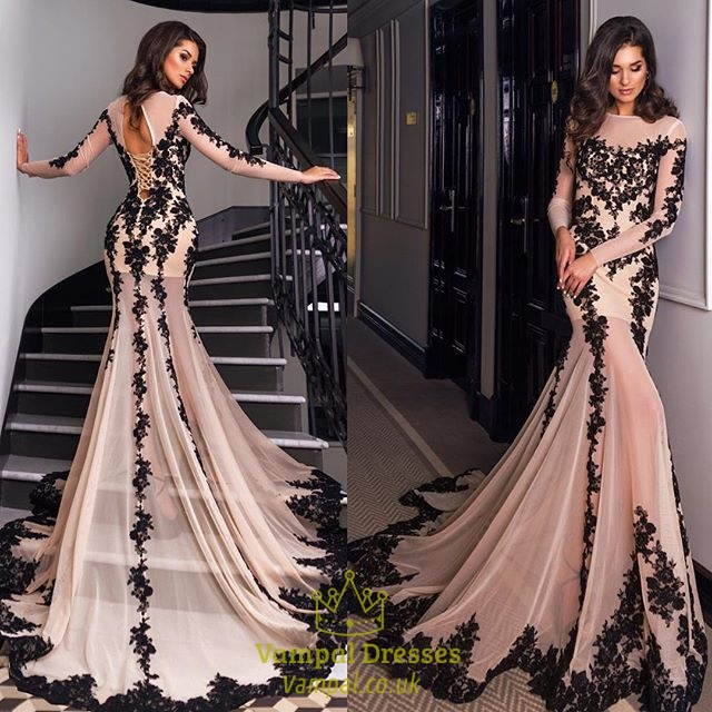 Luxury Long Sleeve Embellished Lace Overlay Prom Dress With Train ...