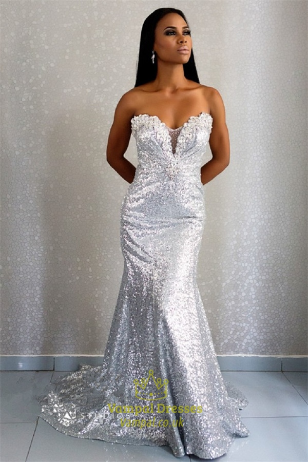 White Strapless Sweetheart Beaded Sequin Embellished Long Prom Dress ...