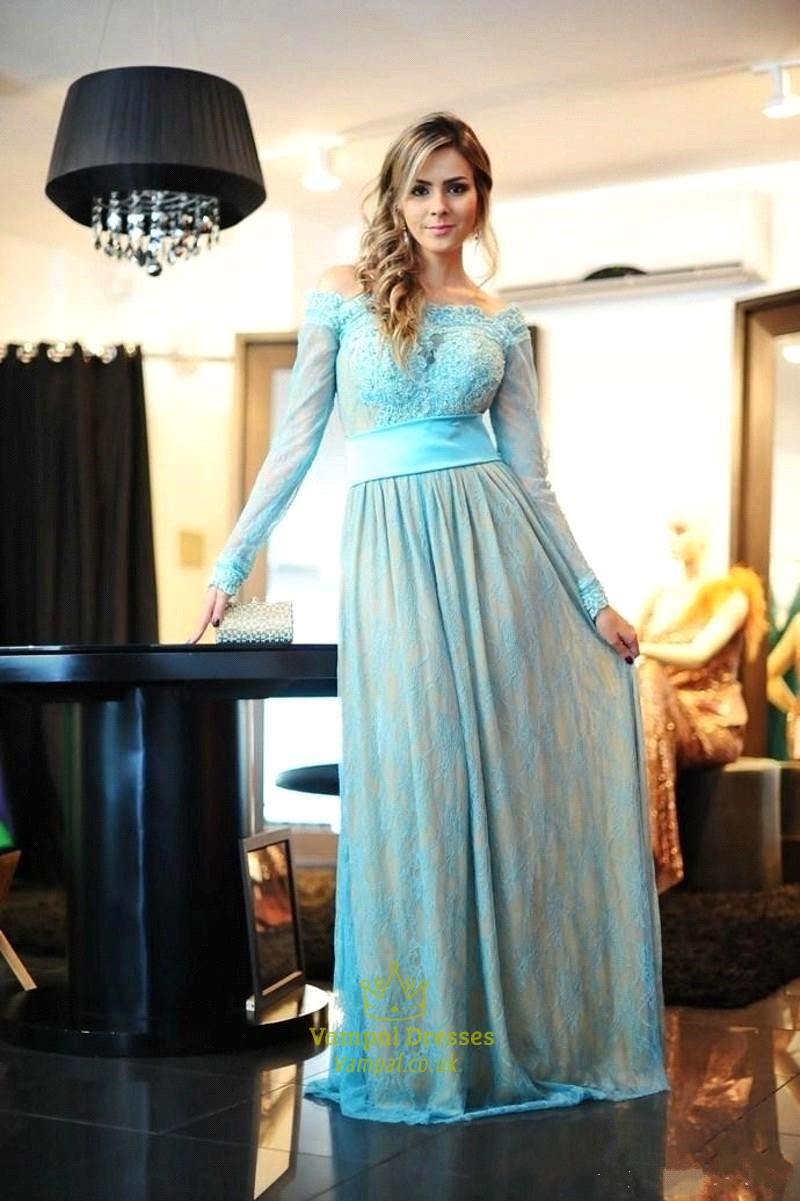 Aqua Blue Off The Shoulder Long Sleeve Lace Floor Length