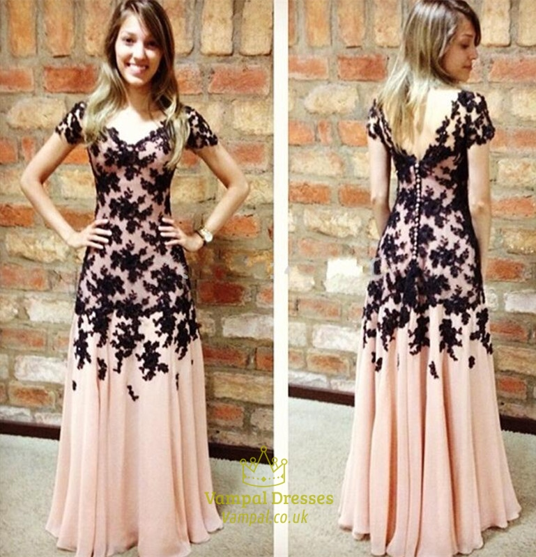 Pink V Neck Lace Embellished Short Sleeve Long Chiffon