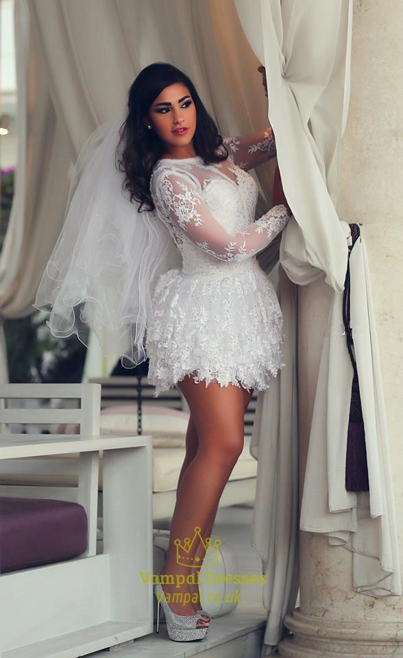 White Sheer Long Sleeve Embellished Open Back Lace Short