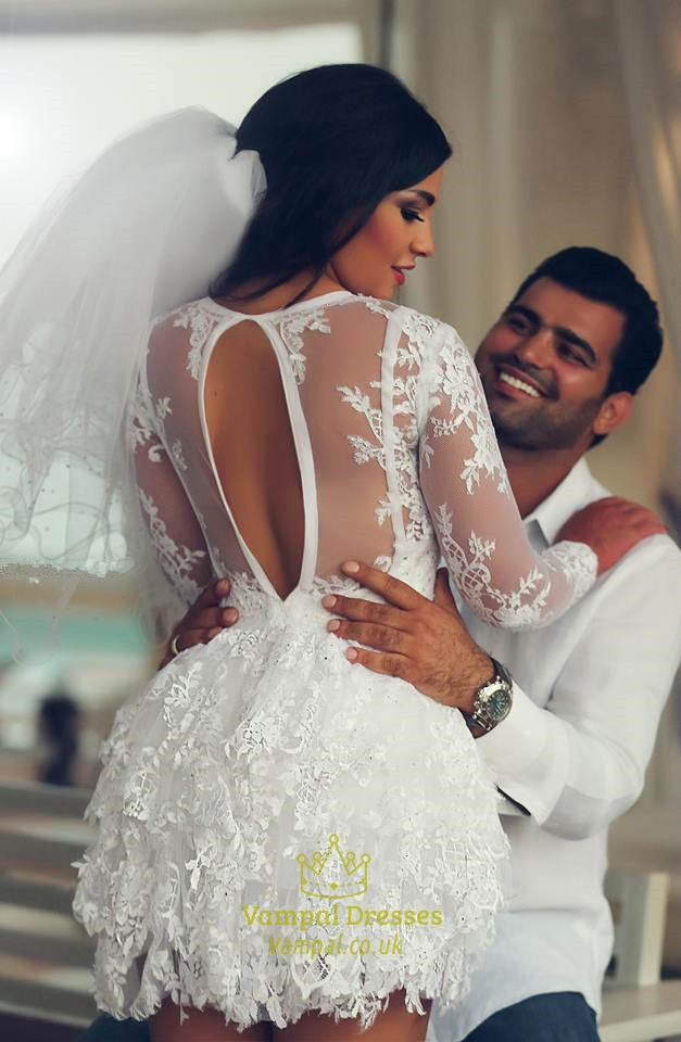 Long Sleeve Lace Short Wedding Dress