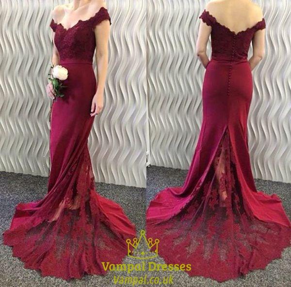 a9291afd6394 Burgundy Off The Shoulder Lace Top Mermaid Long Evening Dress SKU -FS905