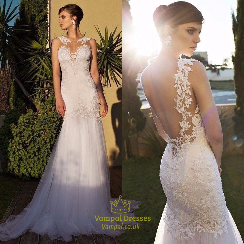 Ivory Sheer Lace Embellished Open Back Tulle Mermaid Wedding Dress ...