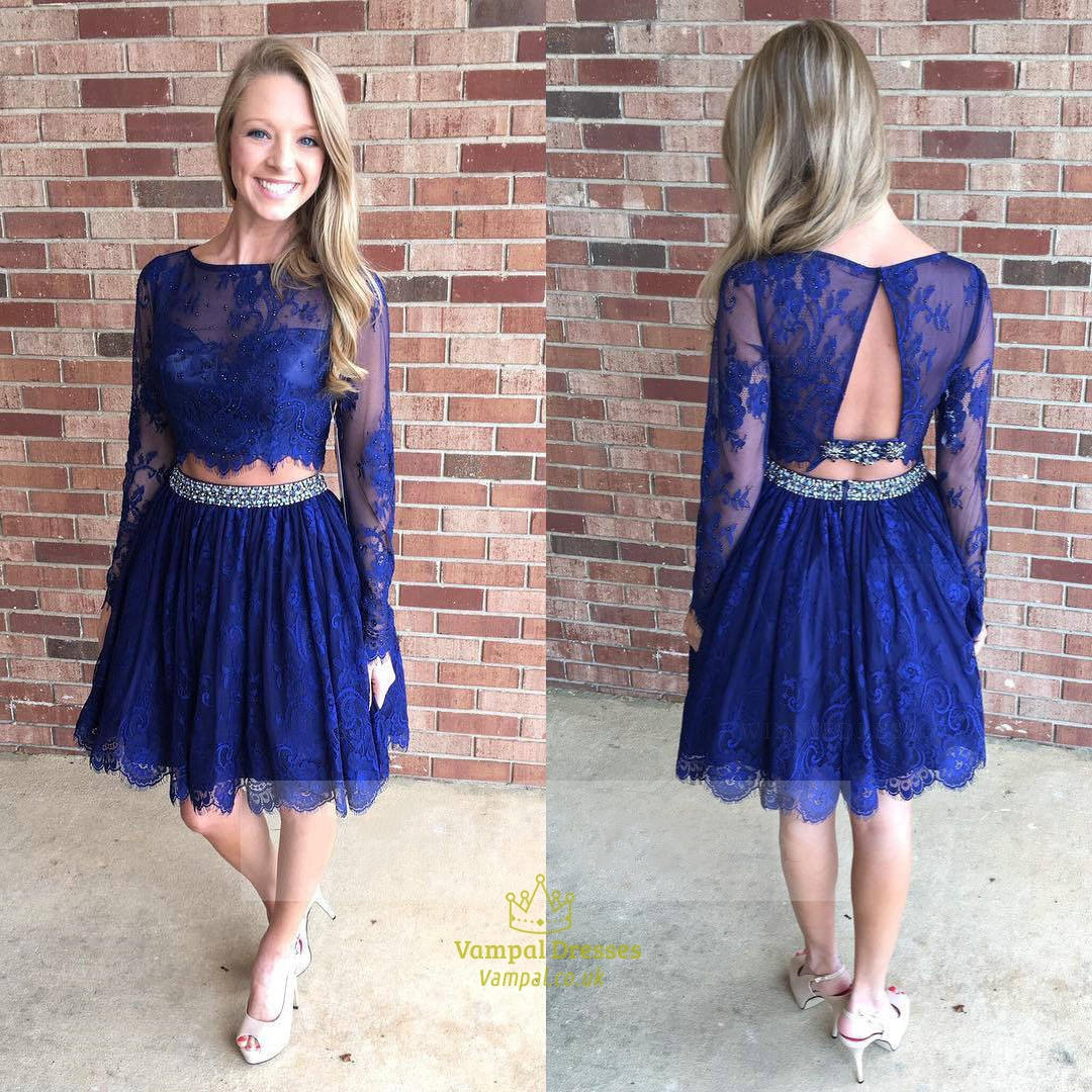 Royal Blue Short Long Sleeve Beaded Two Piece Lace Prom Dress ...