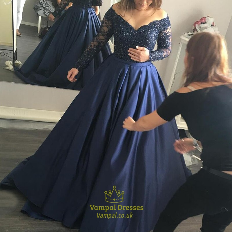 Navy Blue Beaded Bodice Off The Shoulder Long Sleeve