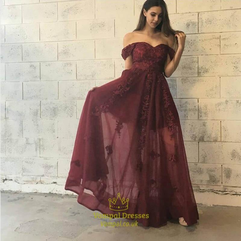 Burgundy Off The Shoulder Sweetheart Short Sleeve Lace Formal Dress