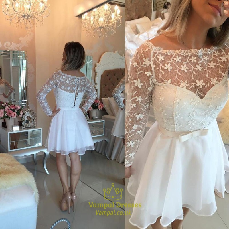 white sheer lace long sleeve short homecoming party dress