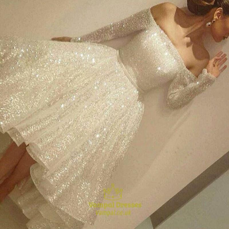b0956d57bd7 White Sequin Embellished Off The Shoulder Long Sleeve Party Dress SKU -FS966