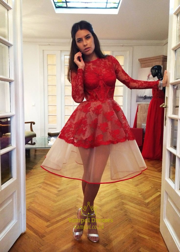 4b9a2b5f6ab30 Red Illusion Long Sleeve Sheer Lace Short Prom Cocktail Dress SKU -FS974