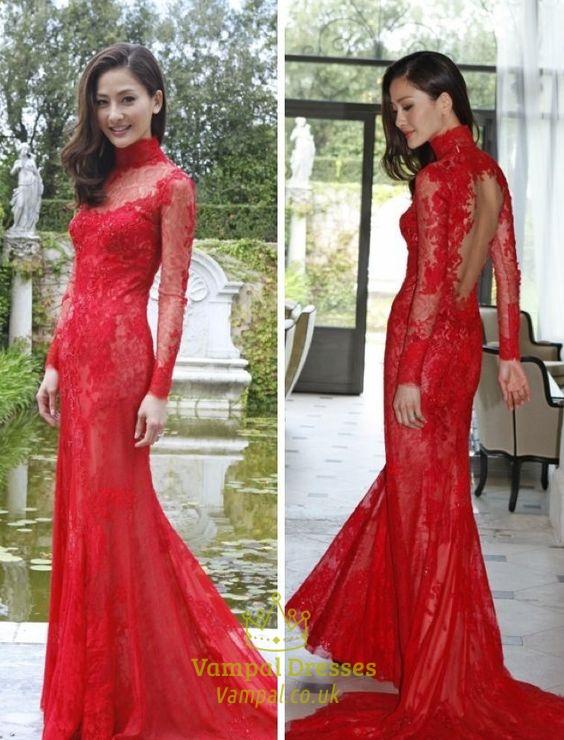 0b59f6d9a98 Red High Neck Open Back Sheer Lace Long Sleeve Formal Dress SKU -FS976