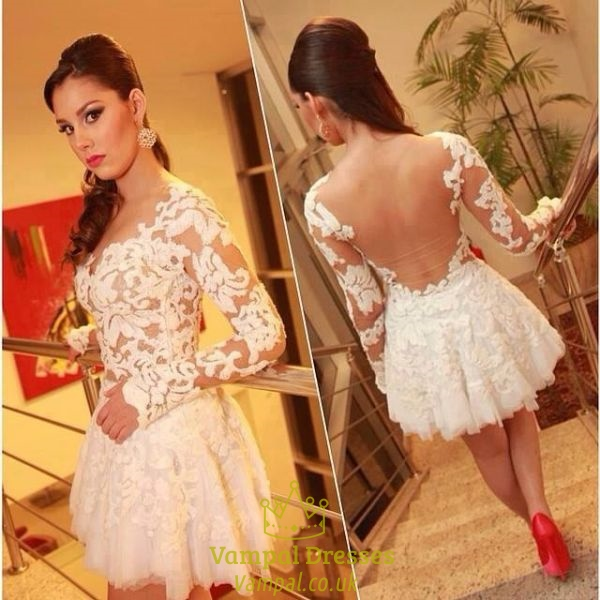Ivory Illusion Long Sleeve Lace Applique Backless Short Prom Dress ...
