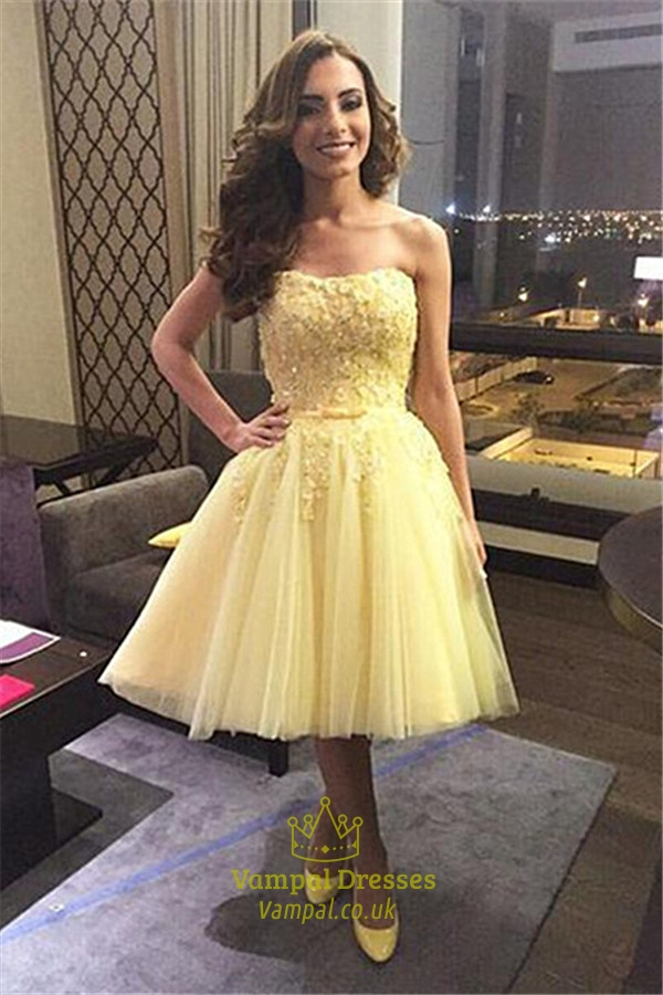 aea23331a29 Yellow Strapless Short Lace Embellished Bridesmaid Dress SKU -FS991