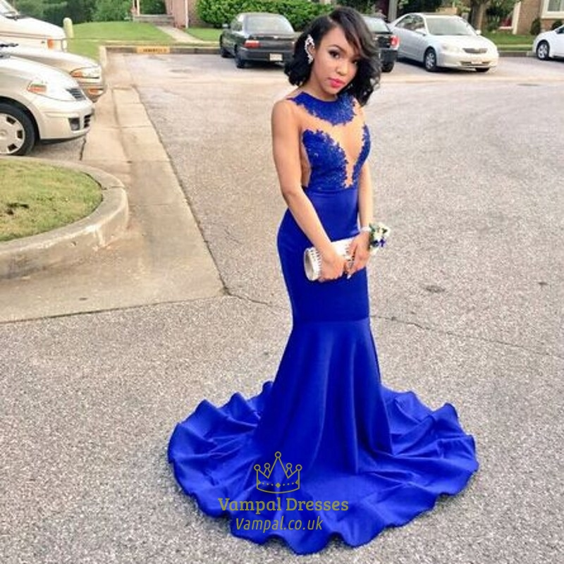 Royal Blue Sheer Lace Applique Open Back Mermaid Long Prom Dress ...