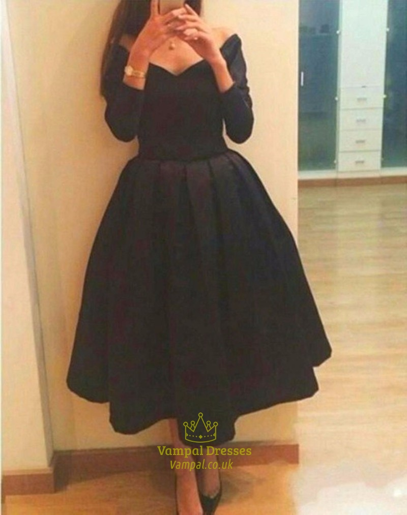 Black V Neck Long Sleeve Tea Length Short Bridesmaid Dress