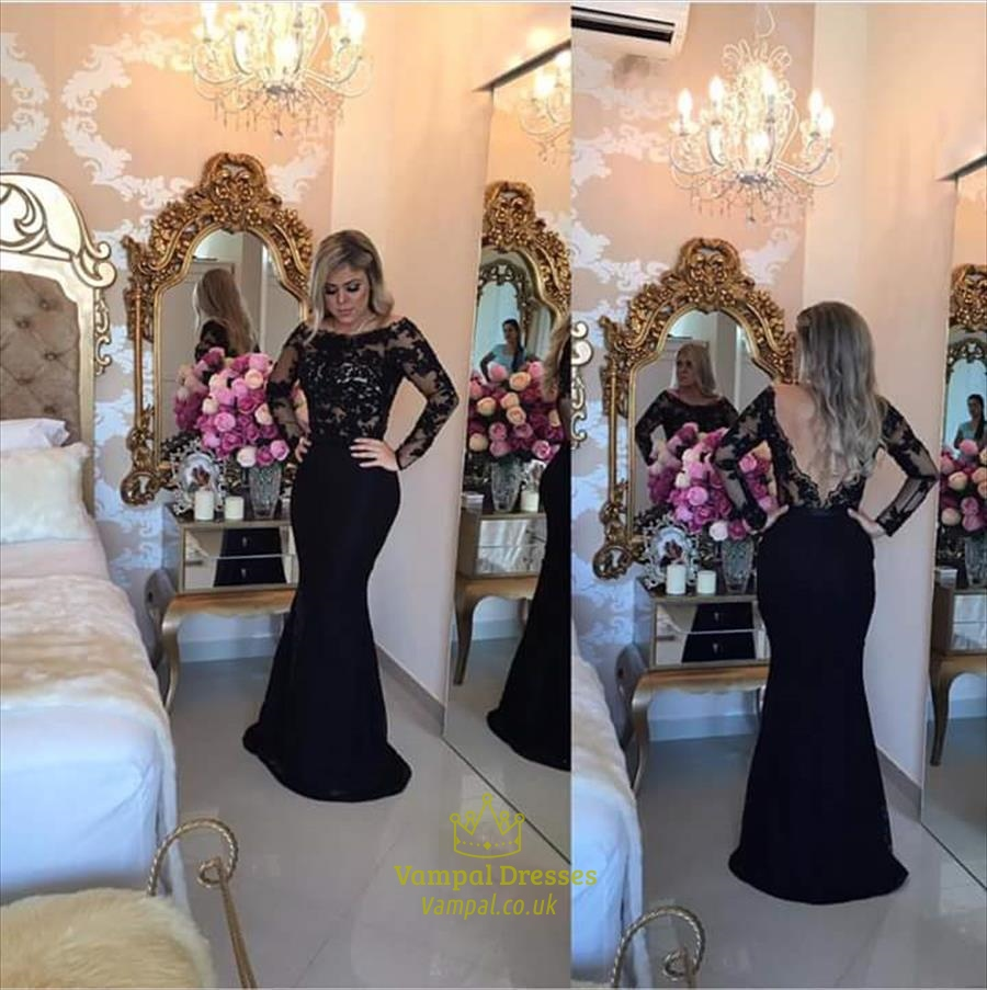 Black Long Sleeve Lace Bodice Backless Long Mermaid Prom Dress ...
