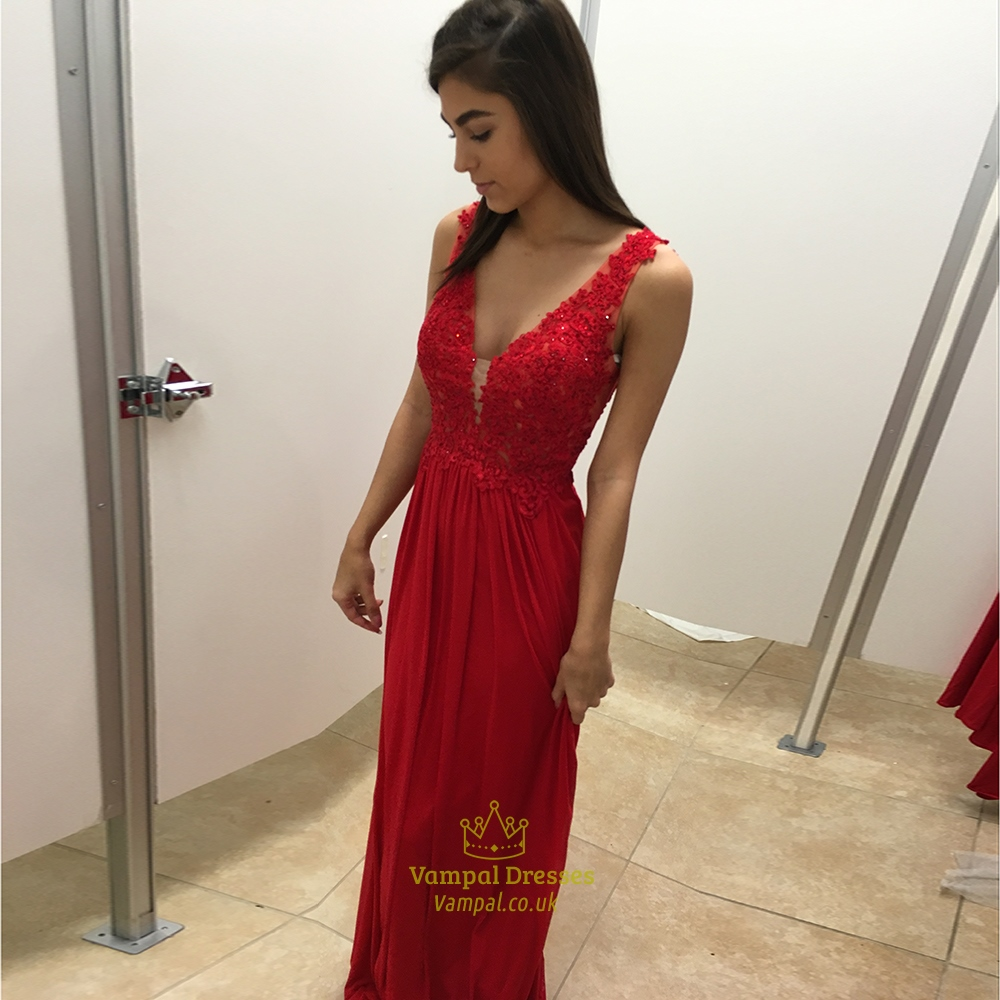 Red V Neck Lace Embellished Bodice Backless Long Bridesmaid Dress ... 1a66a3f39
