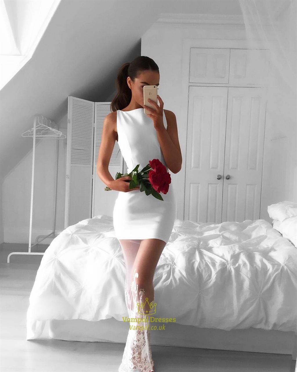 White Sleeveless Short Sheath Cocktail Dress With Sheer