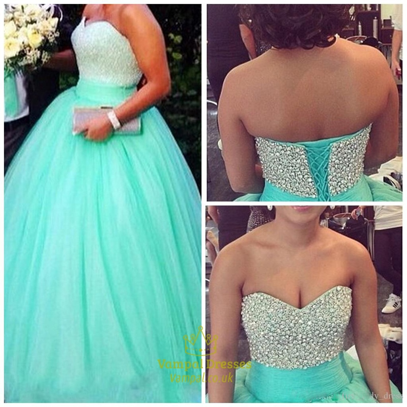 256ba1efd6552 Turquoise Beaded Corset Top Strapless Ball Gown Evening Dress