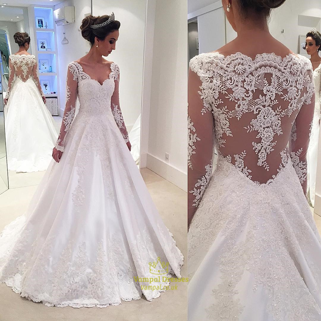 White Lace Applqiue Sheer Long Sleeve Ball Gown Wedding Dress