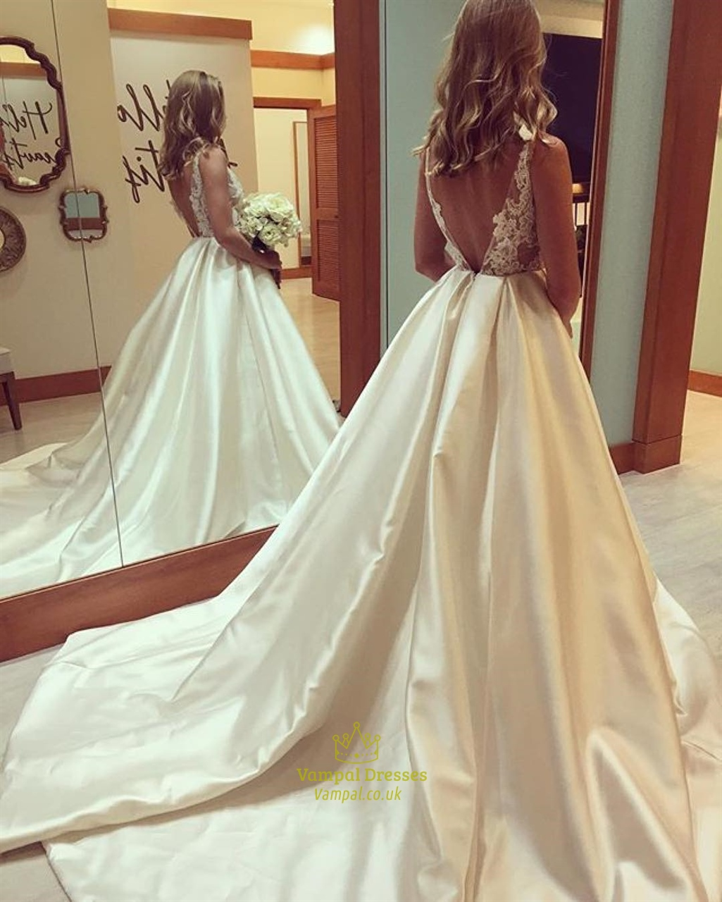 Ivory V Neck Sheer Lace Top Ball Gown Evening Prom Dress   Vampal ...