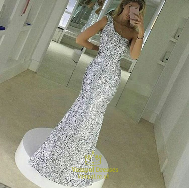 Silver One Shoulder Sequin Mermaid Bridesmaid Long Dress | Vampal ...