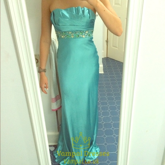 turquoise strapless ruched beadedbodice long backless