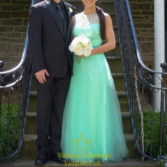 Mint Green Ball Gown Wedding Dress With Beaded Bodice Tulle Skirt ...