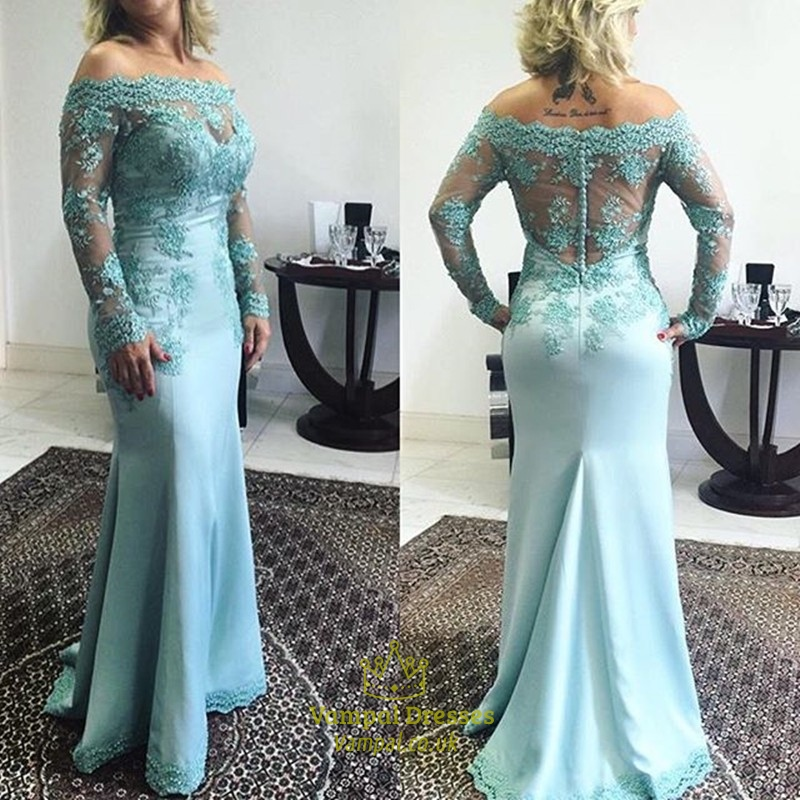 Light Blue Lace Off The Shoulder Long Sleeve Prom Dress