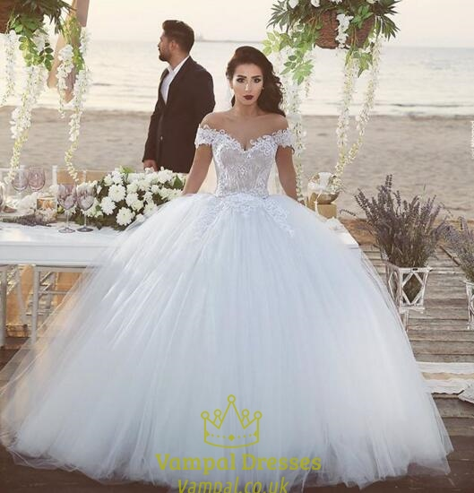 White Off The Shoulder Lace Embellished Ball Gown Wedding Dress ...