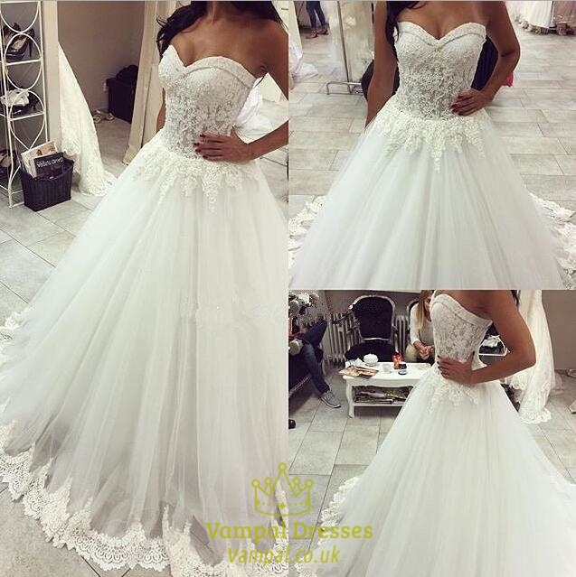 White Sweetheart Strapless Lace Bodice Ball Gown Wedding Dress Vampal Dresses,Sky Blue Dresses For A Wedding