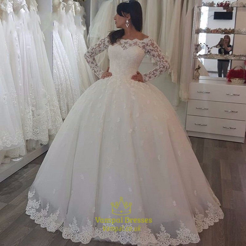 Ivory luxury embellished lace long sleeve ball gown for Ivory lace wedding dress with sleeves