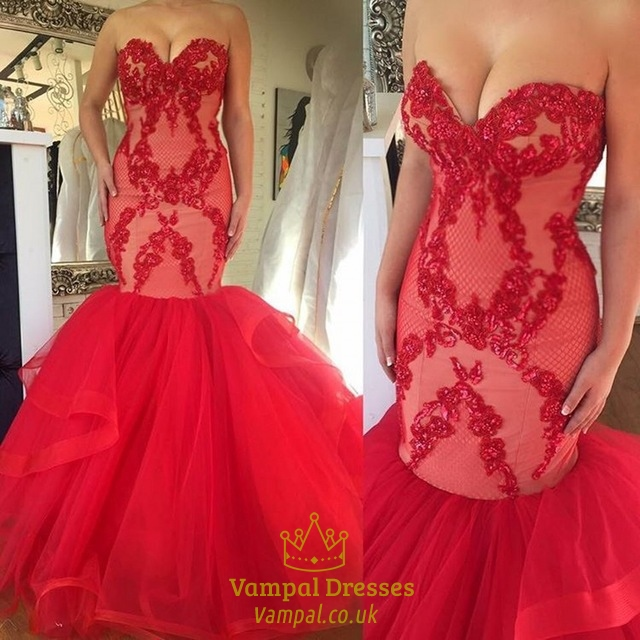 Red Strapless Lace Embellished Top Dropped Waist Mermaid Wedding