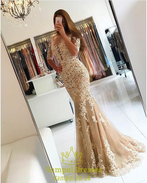 Peach Sheer Lace Applique Half Sleeve Formal Dress With