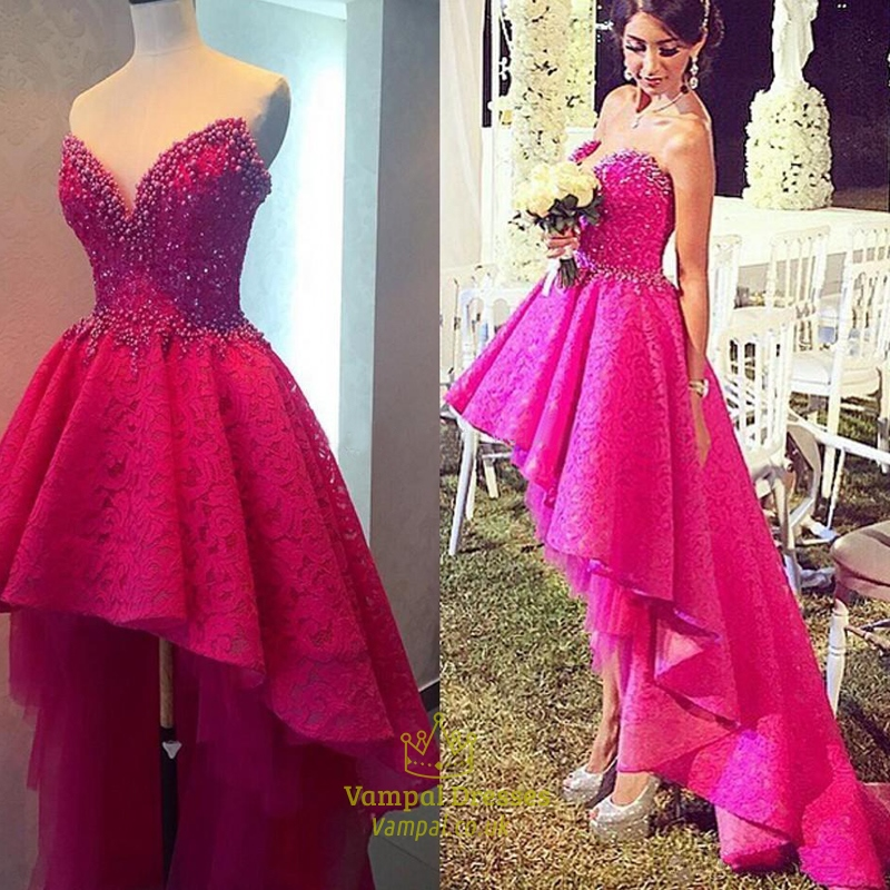 Hot Pink Strapless Short Lace Beaded High Low Wedding