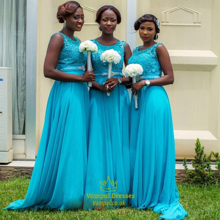 da3cab8ff1 Aqua Blue Beaded Lace Embellished Chiffon Skirt Bridesmaid Dress