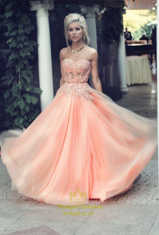 coral strapless lace embellished corset floor length