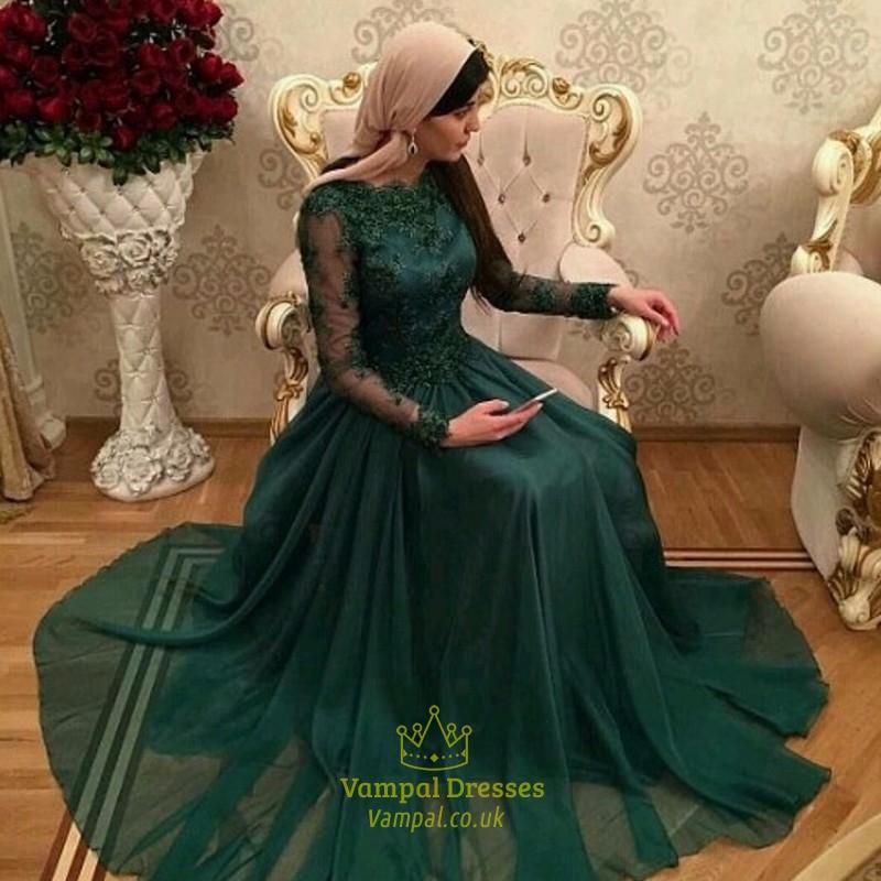 Long Sleeve Wedding Dresses with Turquoise
