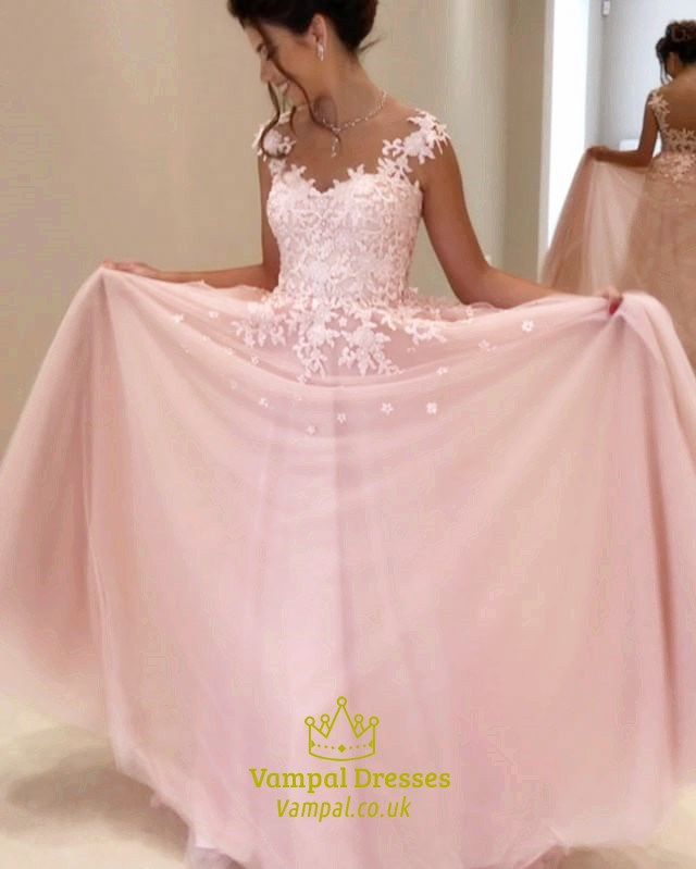 Blush Pink Lace Embellished Ball Gown Wedding Dress With