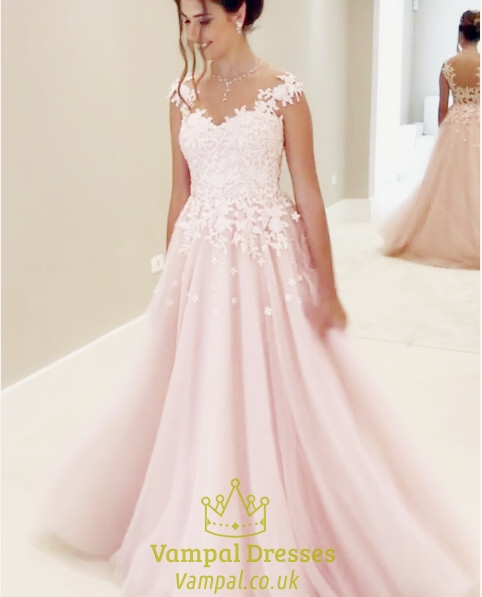 Ball Gown Wedding Dresses Uk: Blush Pink Lace Embellished Ball Gown Wedding Dress With