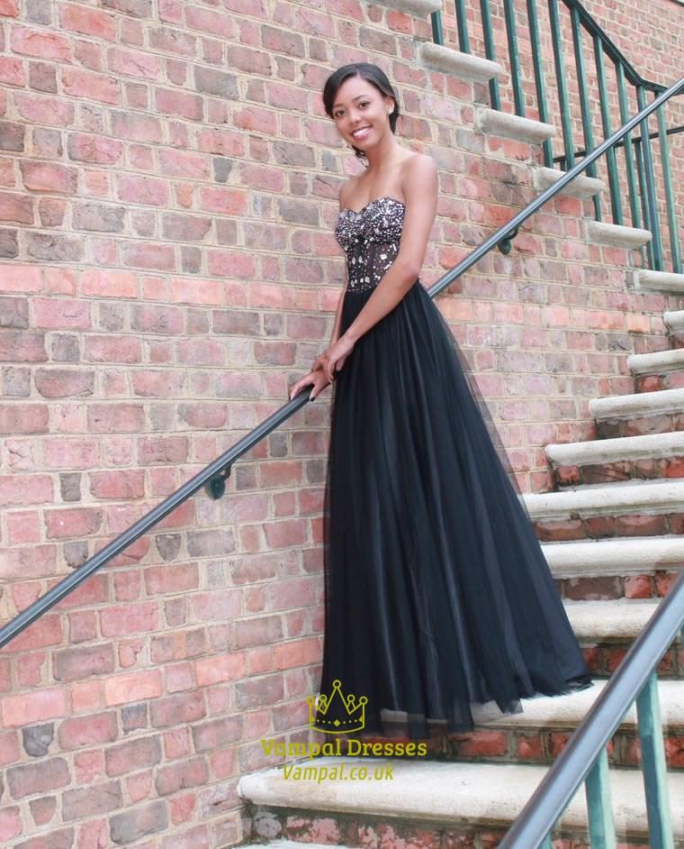 Black Beaded Corset Top Strapless Ball Gown Long Formal Dress ...