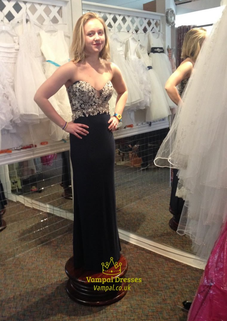 b2bd3d964b6a Black Strapless Lace Embellished Empire Waist Bridesmaid Dress | Vampal  Dresses