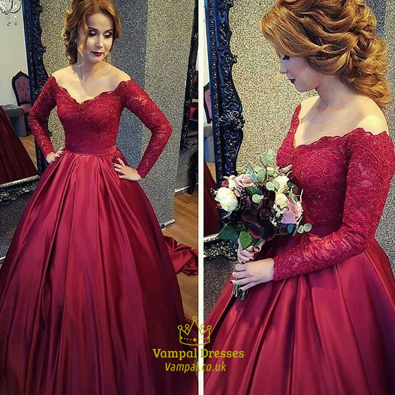 Red V Neck Long Sleeve Lace Bodice Ball Gown Prom Dress SKU -FS1291 9411a8761